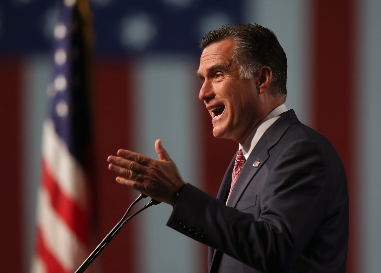 <p>Mitt Romney spoke to veterans before kicking off a six-day foreign trip to England, Israel and Poland.</p>
