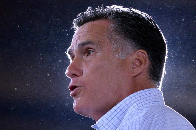 <p>Mitt Romney speaks during a campaign event at LeClaire Manufacturing in Iowa.</p>