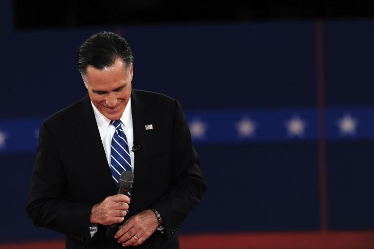 <p>Republican presidential nominee Mitt Romney listens during the second of three presidential debates Oct. 16, 2012, at Hofstra University in Hempstead, New York.</p>