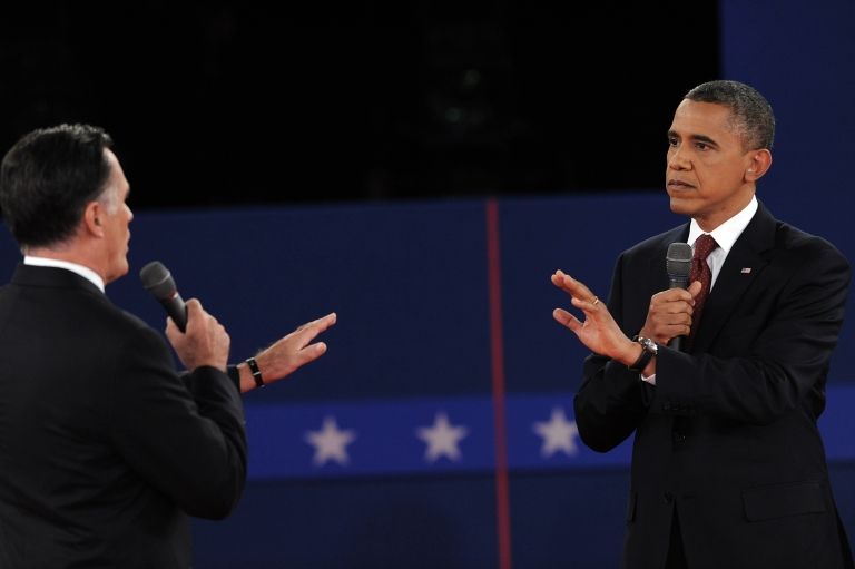 <p>Republican presidential nominee Mitt Romney and President Barack Obama get aggressive on Oct. 16 during the second presidential debates at Hofstra University in Hempstead, New York.</p>