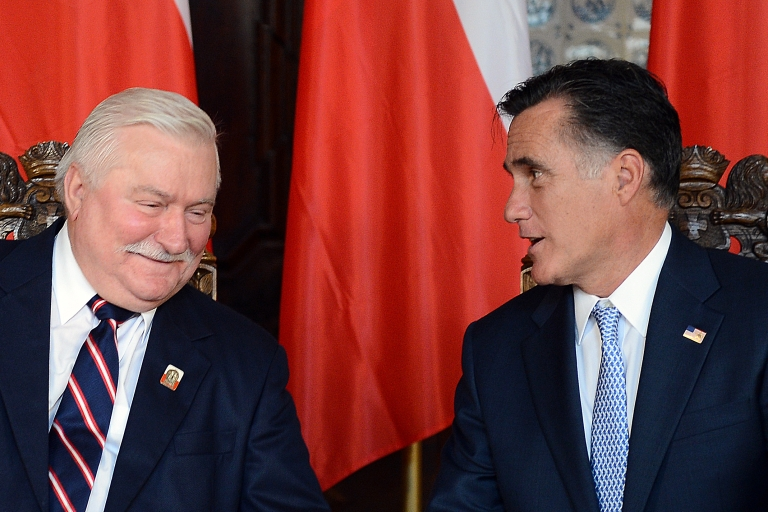 <p>Lech Walesa with Mitt Romney. It's not clear if Americans care whether Romney flubbed his chance to shine abroad.</p>