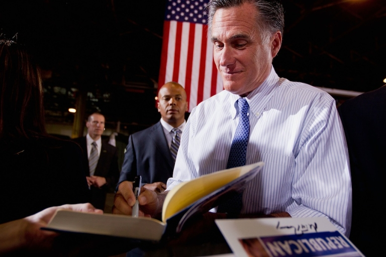 <p>Republican presidential candidate and former Massachusetts Gov. Mitt Romney speaks during a campaign event June 7, 2012 at Production Products, a manufacturing plant in St. Louis, Missouri.</p>