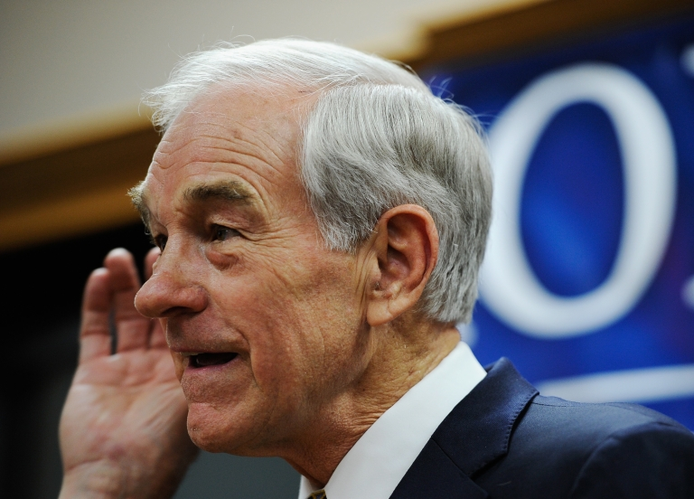 <p>Republican presidential candidate Rep. Ron Paul at a town hall meeting at the Erickson Public Library in Boone, Iowa, on Dec. 8, 2011.</p>