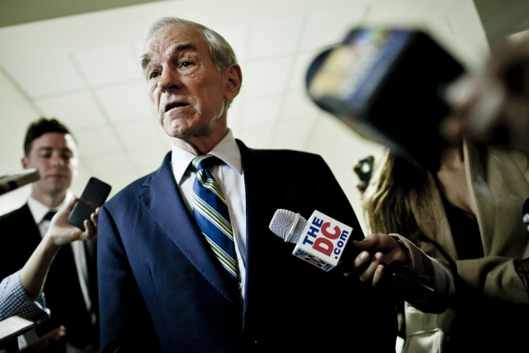 <p>Republican Presidential hopeful US Rep. Ron Paul (R-TX) talks with the press after a town hall meeting at the University of Maryland on March 28, 2012 in College Park, Maryland. Paul has made strategic gains in Maine and Nevada that could help him control party policies at the upcoming Republican National Convention.</p>