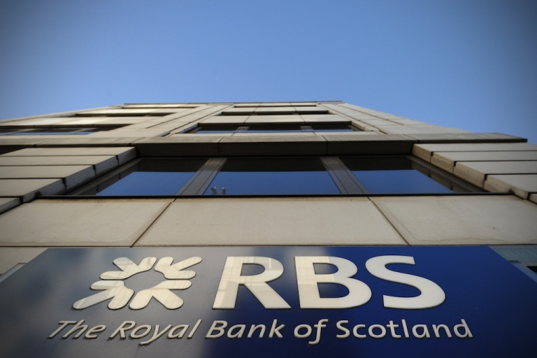 <p>This picture shows the Royal Bank of Scotland sign outside a branch in central London.</p>