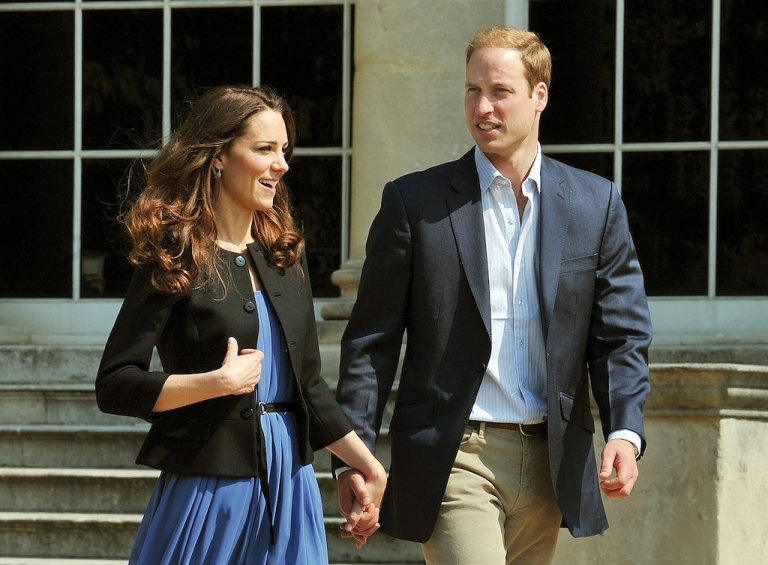 <p>The Duke and Duchess of Cambridge walk hand in hand from Buckingham Palace in London on April 30, 2011, the day after their wedding.</p>