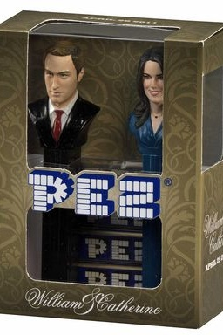 <p>A Pez figure featuring busts of Prince William and Kate Middleton.</p>