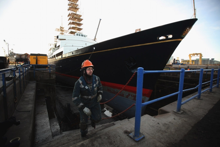 <p>Queen Elizabeth's old yacht, Britannia, in dry dock last week.  The ship, which left Royal service in 1997, is now a tourist attraction in Scotland.  The Queen's supporters want her to have a new one.</p>
