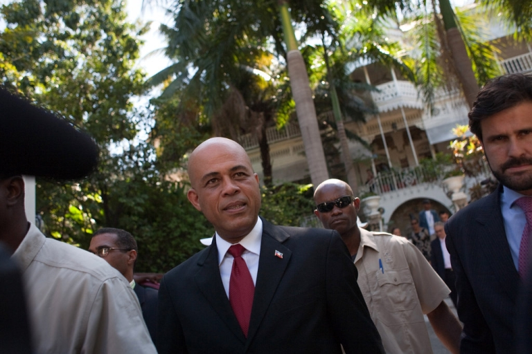 <p>Michel Martelly, then a Haitian presidential candidate, in front of the Oloffson Hotel on February 3, 2011 in Port-au-Prince, Haiti.</p>