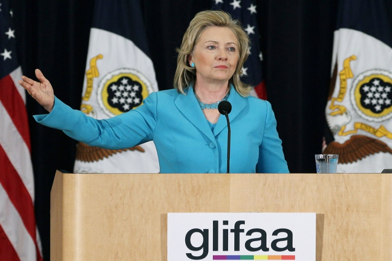 <p>Secretary of State Hillary Clinton participates in a event co-hosted by the Department of State and Gays and Lesbians in Foreign Affairs Agencies (GLIFAA), at the State Department on June 27, 2011 in Washington, DC. During the event Secretary Clinton was presented with the GLIFAA Equality Award.</p>