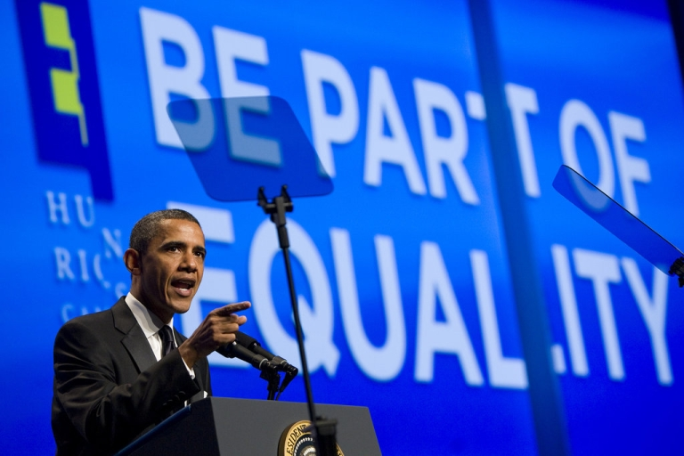 <p>U.S. President Barack Obama delivers remarks during the Human Rights Campaign's 15th Annual National Dinner at the Washington Convention Center on October 1, 2011 in Washington, D.C. The President spoke to one of the leading gay rights groups two weeks after the repeal of the military's