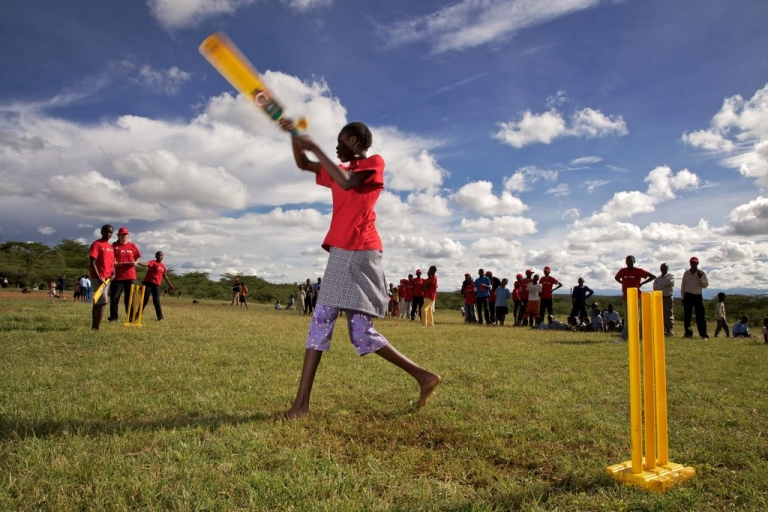 <p>Young girls play cricket on November 25, 2011 in Laikipia, Kenya. Members of the Maasai Cricket Warriors team helped support the International Cricket Council's Think Wise awareness campaign, ahead of World Aids Day, by delivering HIV prevention messages to children.</p>