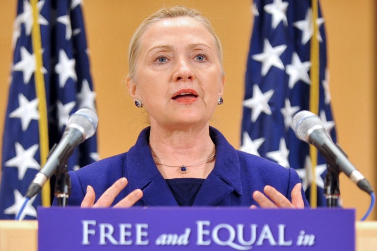 <p>US Secretary of State Hillary Clinton addresses the assembly during a speech entitled 'Free and Equal in Dignity and Rights' at the United Nations in Geneva on December 6, 2011, ahead of the International Human Rights Day. Clinton urged an end to discrimination worldwide against lesbians, gays, bisexuals and transgender individuals (LGBT).</p>