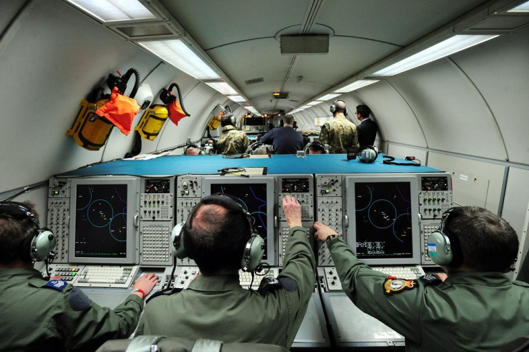 <p>A general view shows crewmen working aboard a E-3D Sentry aircraft during an Olympic training exercise codenamed Exercise Taurus Mountain 2 at RAF Waddington, near Lincoln, England on February 29, 2012.</p>