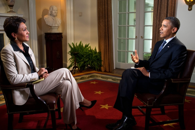 <p>President Barack Obama participates in an interview with Robin Roberts of ABC's Good Morning America, in the Cabinet Room of the White House on May 9, 2012 in Washington, DC. During the interview, President Obama expressed his support for gay marriage, a first for a US president.</p>