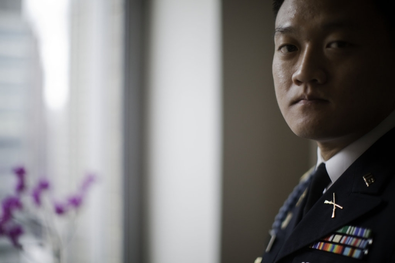 <p>Former Army Lt. Dan Choi in his Manhattan apartment. He currently faces federal charges for his role in a White House protest in Nov. 2010 and has refused to repay nearly $3000 in bonus money that the New York Army National Guard wants back due to his failure to complete his enlistment after being discharged under