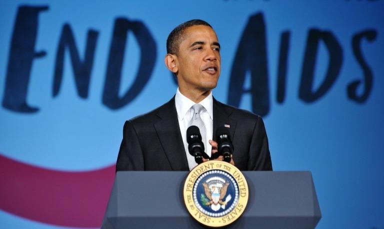 <p>US President Barack Obama speaks at a World AIDS Day event December 1, 2011 at George Washington University in Washington, DC.</p>