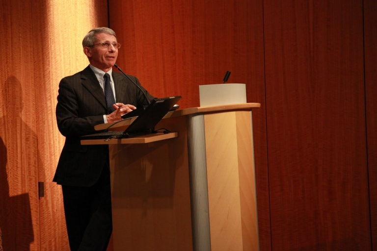 <p>Dr. Anthony Fauci, director of the National Institute of Allergy and Infectious Diseases, speaks at an event in Washington at the Kaiser Family Foundation on Monday, Mar. 19.</p>