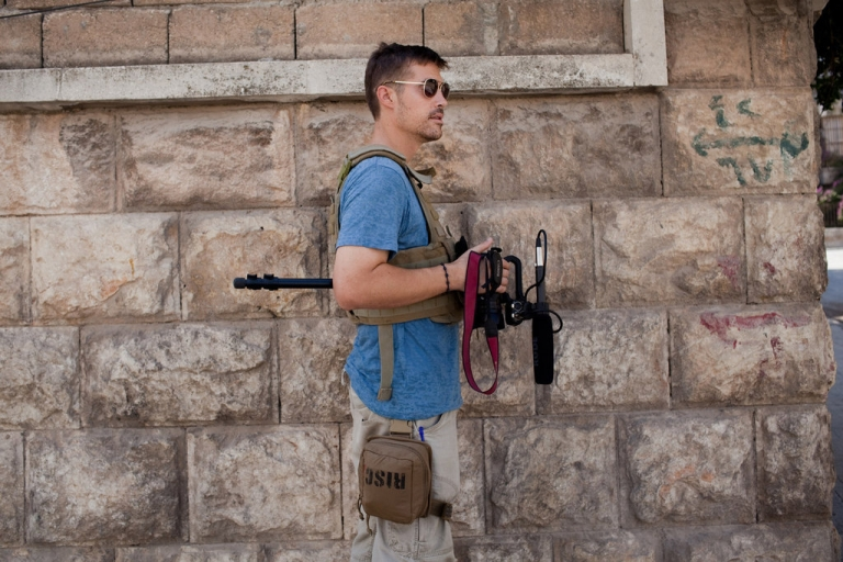 <p>Correspondent James Foley in Aleppo, Syria in August 2012.</p>