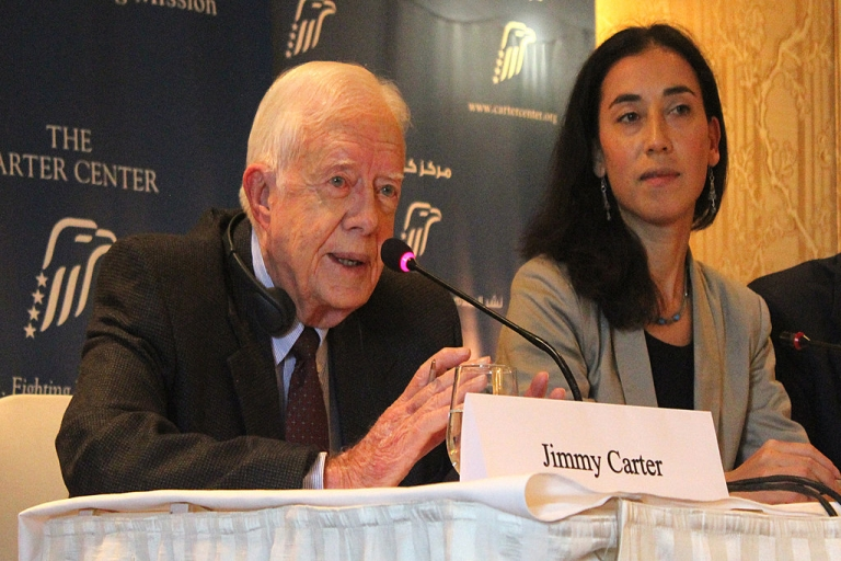 <p>Former US President Jimmy Carter speaks about Egypt's recent parliamentary elections in Cairo on Jan. 13, 2012.</p>