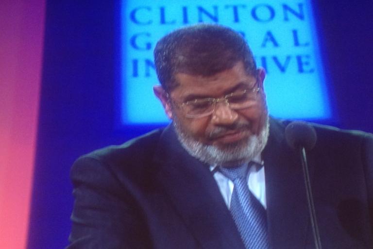 <p>Egyptian President Mohammed Morsi speaks at the Clinton Global Initiative in New York City on September 25, 2012.</p>