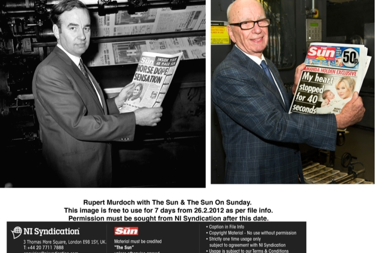<p>Rupert Murdoch: then and now. Holding the first edition of The Sun published after he bought it in 1969 and holding the first edition of The Sun on Sunday published yesterday.  The positive buzz about the 80 year old's indefatigability was undone today by new revelations of alleged illegal payments made by Sun journalists to public officials.</p>