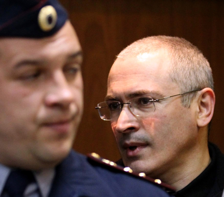 <p>Khodorkovsky in court for his appeal hearing Tuesday.</p>