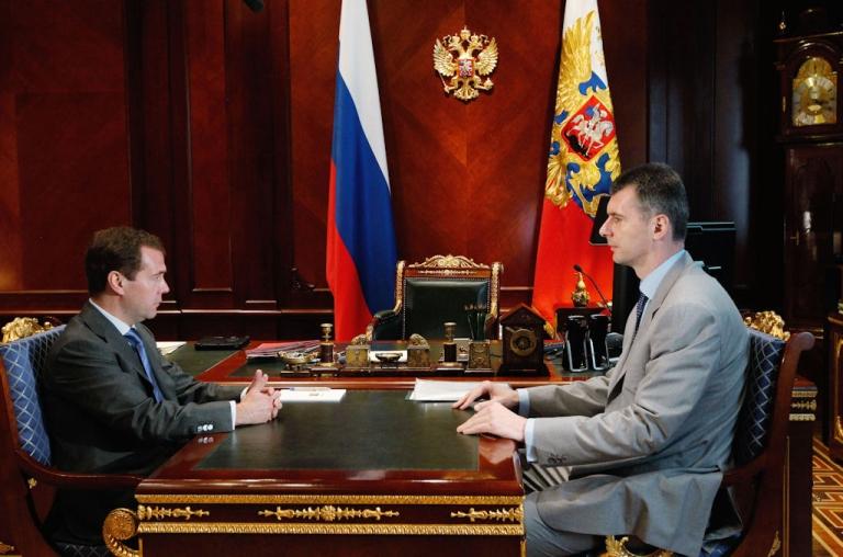 <p>Russian President Dmitry Medvedev (left) meets billionaire Mikhail Prokhorov at the Gorki residence outside Moscow on June 27, 2011.</p>