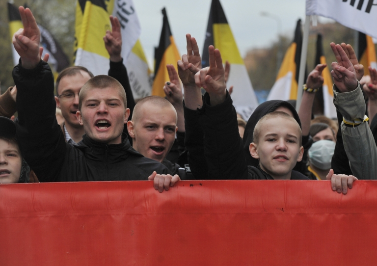 <p>Russian nationalists march through Moscow on May 1, 2011.</p>