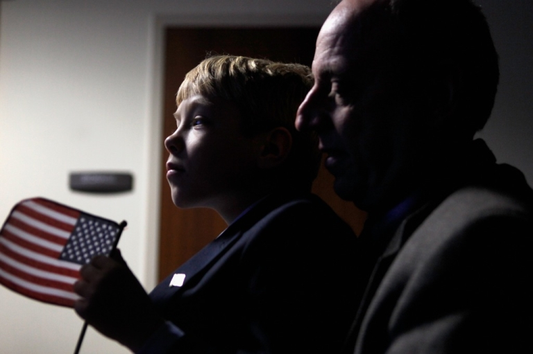 <p>A Russian-born boy with his American adoptive father in Washington, DC, in 2011. Russia is seeking to ban US citizens from adopting Russian children.</p>