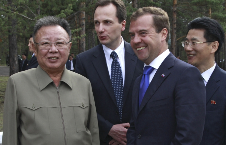 <p>Russian President Dmitry Medvedev (R) speaks with North Korea's leader Kim Jong-Il (L) during a meeting at Sosnovy Bor Military Garrison, Zaigrayevsky District, Buryatia outside Ulan-Ude on August 24, 2011. North Korea's leader Kim Jong-Il on Wednesday met Russian President Dmitry Medvedev in Siberia for secrecy-shrouded summit talks on energy and food aid. The talks got underway at a military base in Ulan-Ude some 3,450 miles east of Moscow.</p>