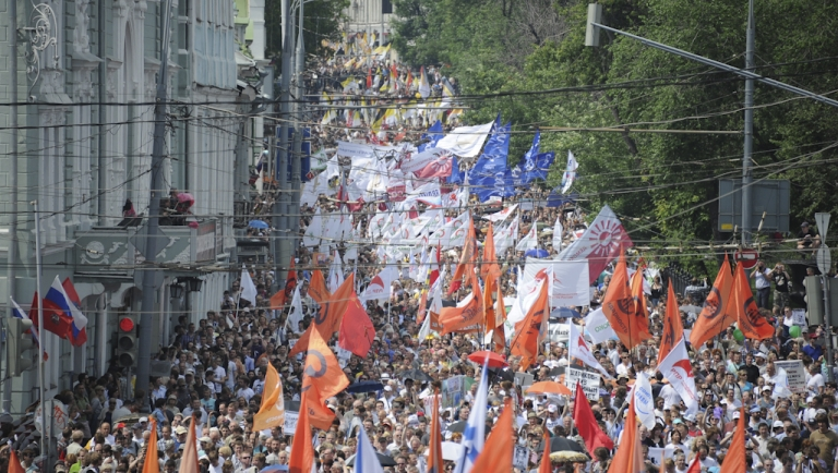<p>Opposition activists rally in Moscow, on June 12, 2012. Tens of thousands of protesters chanting