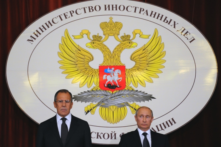 <p>President Vladimir Putin (L) and Foreign Minister Sergei Lavrov meet Russian Ambassadors in the Foreign Ministry, in Moscow, on July 9, 2012. Putin said Syria needed a dialogue between the regime and opposition forces to ensure a lasting peace.</p>