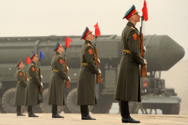 <p>A column of Russia's Topol intercontinental ballistic missile launchers rolls during a rehearsal of the Victory Day Parade in Alabino, outside Moscow, on April 18, 2012. Russia tested a secret missile on May 23, 2012, capable of penetrating NATO's European defense shield, according to Russian military sources.</p>