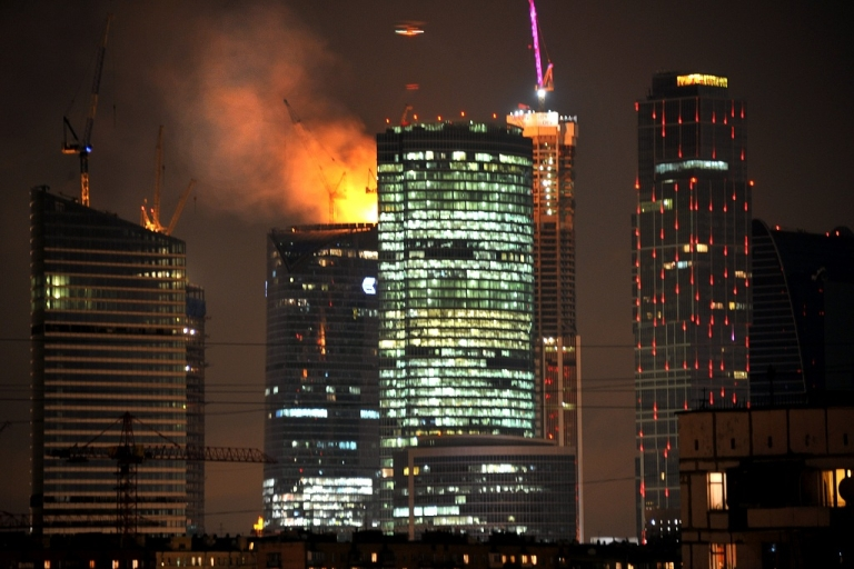 <p>Flames engulf the 67th floor of the eastern Federation Tower in Moscow, Europe's tallest building-to-be.</p>