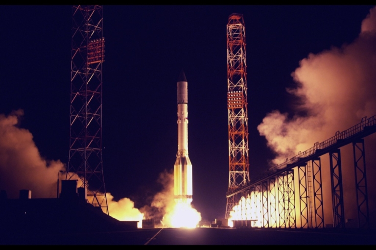 <p>Russia's Roscosmos space agency said the Proton-M rocket was launched just before midnight Monday from the Russian-leased Baikonur cosmodrome in Kazakhstan.</p>