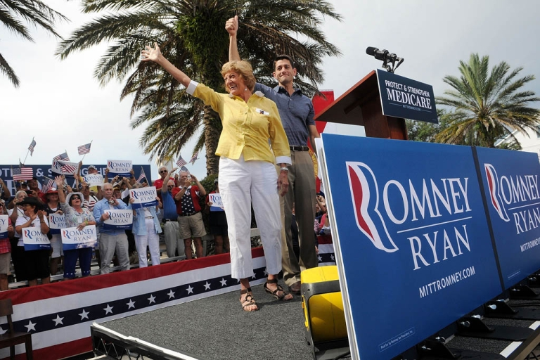 <p>THE VILLAGES, FL - AUGUST 18:  Republican Vice Presidential candidate, U.S. Rep. Paul Ryan (R-WI) (R) and his mother Elizabeth Ryan wave during the Victory Rally in Florida at Town Square, Lake Sumter Landing on August 18, 2012 in The Villages, Florida. Ryan spoke about his family's reliance on Medicare.</p>