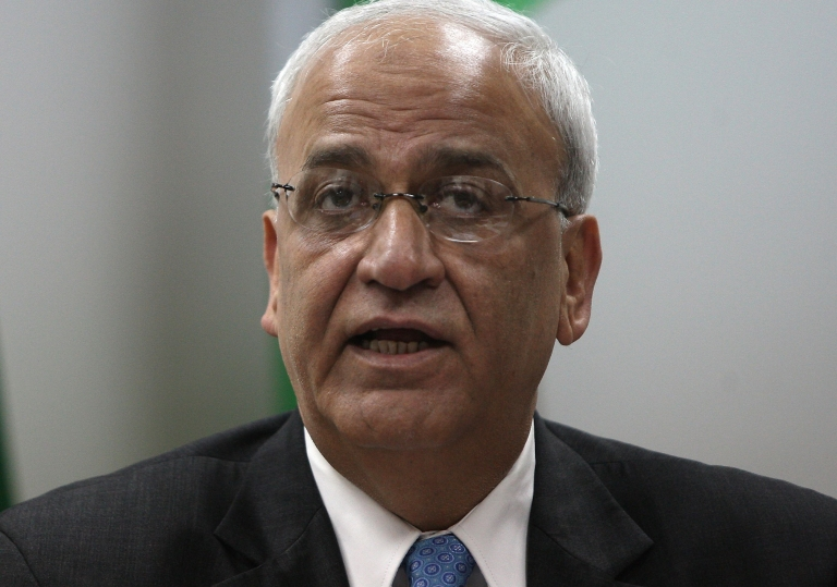 <p>Saeb Erekat, Palestinian chief negotiator, speaks to journalists during a press conference in the West Bank city of Ramallah on January 2, 2012.</p>