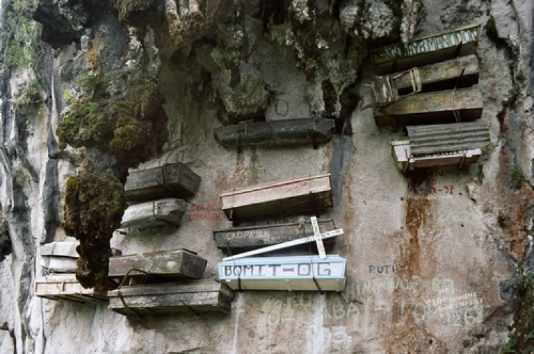 <p>Hanging coffins of the Sagada people, on the island of Luzon in the Philippines.</p>