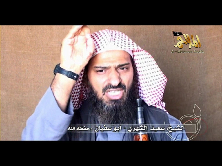 <p>A screen shot of a video posted on the Internet on October 6, 2010 shows al Qaeda in the Arabian Peninsula's branch assistant commander Said al-Shihri. An audio recording of a man claiming to be al-Shihri said he was not killed last month, as Yemen officials had reported.</p>