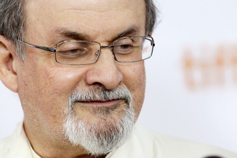 <p>Author Salman Rushdie arrives at the 'Midnight's Children' Premiere at the 2012 Toronto International Film Festival at Roy Thomson Hall on September 9, 2012 in Toronto, Canada.</p>
