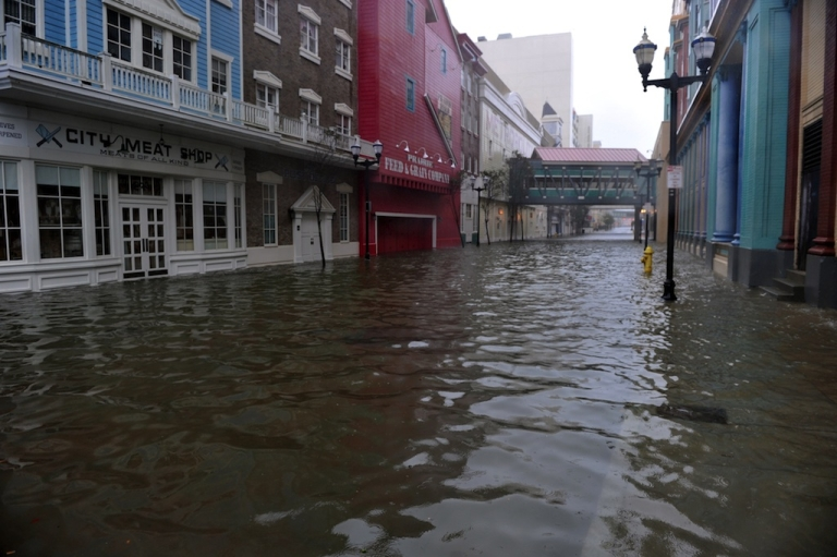 <p>A flooded street between two casinos along the Boardwalk before the arrival of Hurricane Sandy on October 29, 2012 in Atlantic City, New Jersey.</p>