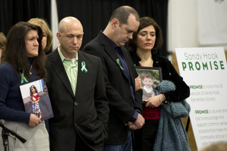 <p>Family members of victims of the Sandy Hook Elementary School shooting attend a news conference on January 14, 2013 in Newtown, Connecticut. Families of victims asked that there be a dialogue to find solutions on how to prevent similar future violence.</p>
