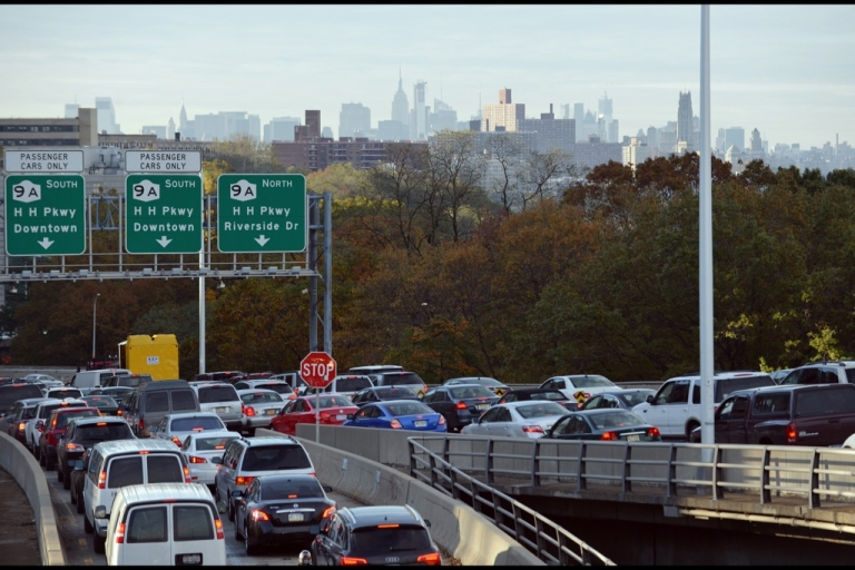 <p>Heavy traffic exits the George Washington Bridge onto the Henry Hudson Parkway as morning commuters drive into Manhattan November 1, 2012 in New York as the city recovers from the effects of Hurricane Sandy.</p>