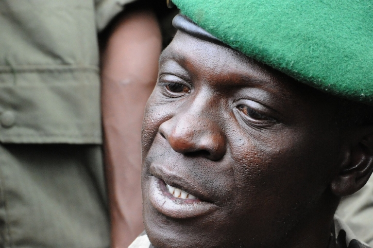 <p>Mali junta leader Captain Amadou Sanogo speaks at the Kati Military camp, in a suburb of Bamako, on March 22, 2012. The coup leader said he is the head of the National Committee for the Establishment of Democracy, said his move was prompted by government's