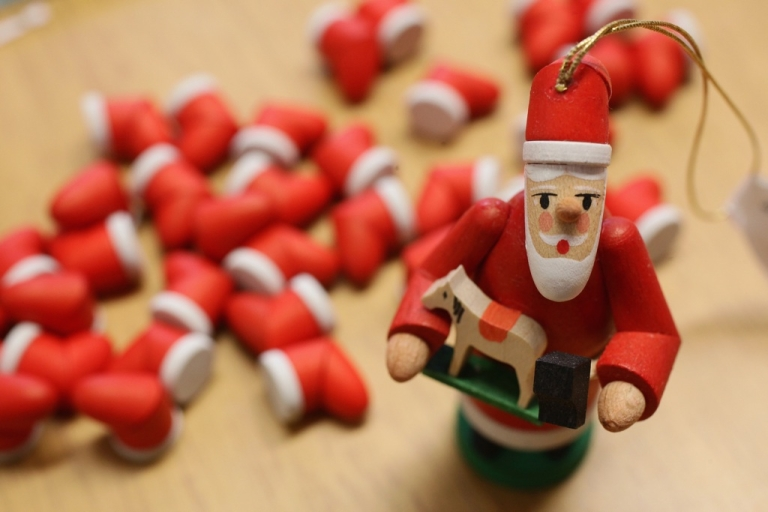 <p>Santa Claus Christmas tree decorations at the Richard Glaesser GmbH wooden toy manufactory on November 30, 2009 in Seiffen, Germany.</p>