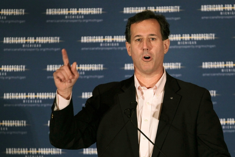 <p>Republican presidential candidate Rick Santorum speaks at the Americans for Prosperity Presidential Forum during a campaign stop in Troy, Mich., on Feb. 25, 2012.</p>