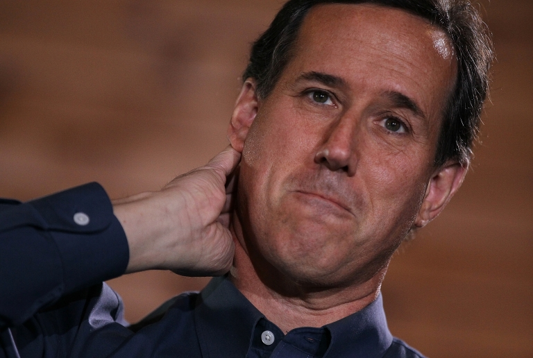 <p>Republican presidential candidate Rick Santorum speaks during a 'Faith, Family and Freedom' Town Hall at Merrimack Valley Railroad in Northfield, NH, on Jan. 5, 2012.</p>
