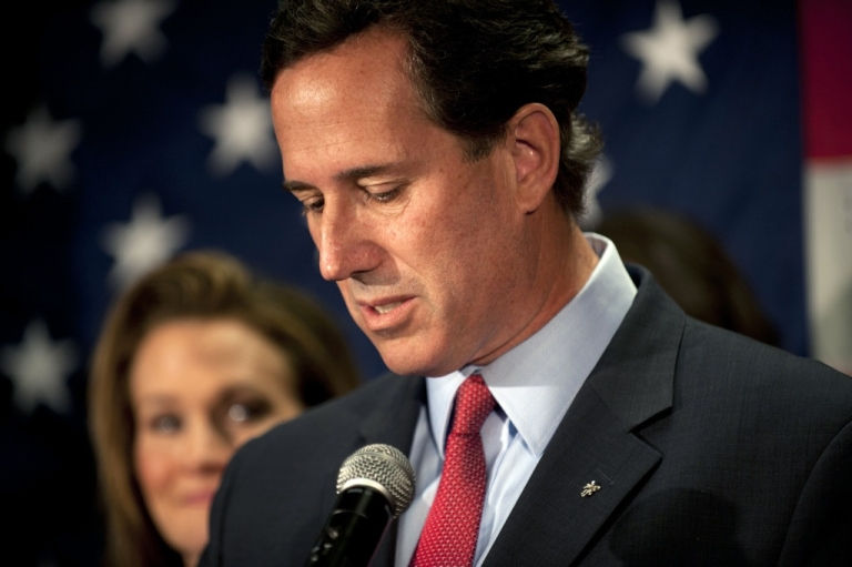 <p>Surrounded by members of his family, Republican presidential candidate, former US Sen. Rick Santorum announces he will be suspending his campaign during a press conference at the Gettysburg Hotel on April 10, in Gettysburg, Pennsylvania. Santorum's 3-year-old daughter, Bella, became ill over the Easter holiday and poll numbers showed he was losing to Mitt Romney in his home state of Pennsylvania.</p>