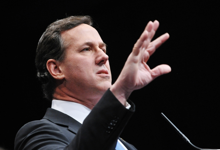 <p>GOP presidential hopeful Rick Santorum speaks during an address to the 39th Conservative Political Action Committee in January in Washington, D.C.</p>